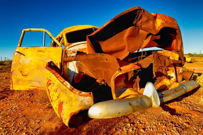 A car rusts at Silverton in the NSW outback