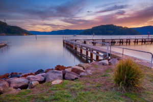 Hawkesbury sunrise over McKell Park baths at Brooklyn – toward Dangar Island / Little Wobby